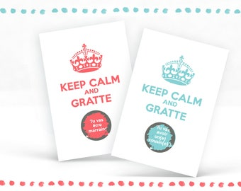"""Personalized """"Keep calm and..."""" scratch card pregnancy expecting announcement, blue - ask godmother, Godfather"""