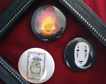 Set of 3 badges 44 mm - ghibli theme