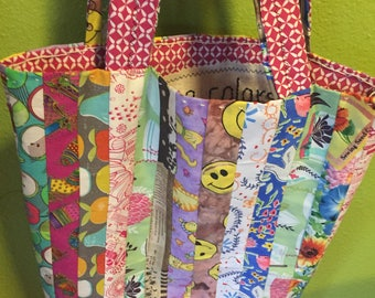 """Patchwork Bag with Message """"True Colors"""""""