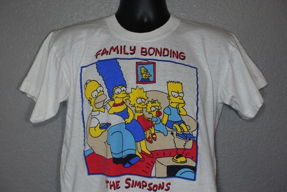 90's 'Family Bonding' BOOTLEG - The Simpsons Matt Groening Vintage T-Shirt