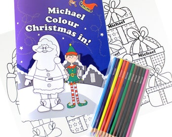 Personalised Its Christmas Colouring Books With Pencil Crayons Boy And Girl Versions