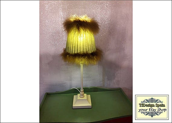 Table lamp, Table lamp for living room, Table lamp for bedroom, Table lamp Etsy, Table lamp green, Table lamp with feathers, Vintage lamp