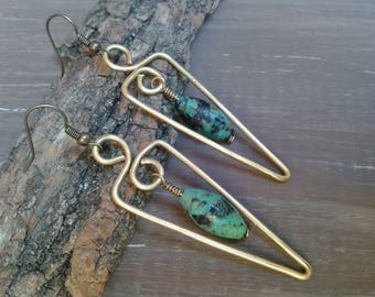 African turquoise, turquoise earrings, turquoise earrings boho jewelry, gold, brass, drop earrings, gift for her