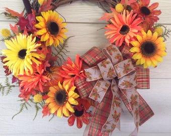 Fall wreath, Autumn wreath, grapevine wreath