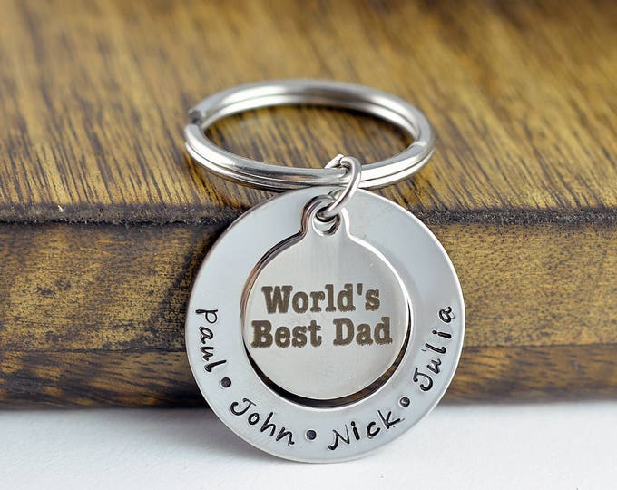 Engraved Keychain, Worlds Best Dad Keychain, Personalized Father's Day Gift, Custom Keychain, Present for Dad, Dad Keychain, Kids Names