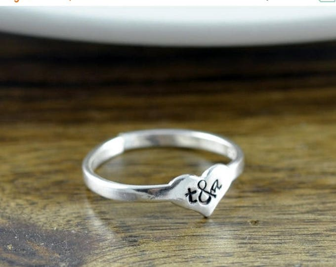 10% off SALE sterling silver heart ring, love ring, initial ring, initial jewelry, stacking rings, gift for her, valentines day, romantic je