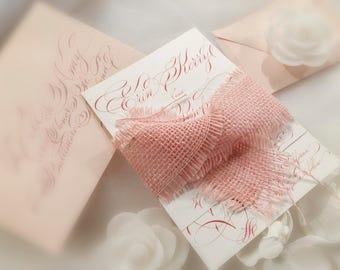 Blush wedding invitations with fully handwritten custom calligraphy. Bespoke RSVP card, calligraphy wedding invitations suite. Gala script