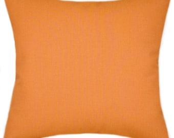 Sunbrella Canvas Tangerine Indoor/Outdoor Solid Pillow