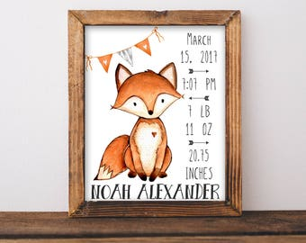 Birth Stats. Fox Birth Stats Wall Art. Orange and Gray Nursery Decor. Personalized Baby Gift. Woodland Nursery Wall Art. Gift For Baby. Fox.