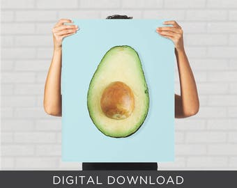 Digital Download Print - Avocado Blue Minimal Pop Art Modern - Wall Art, Poster