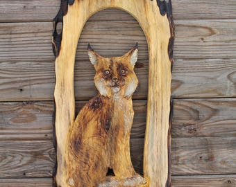 Lynx relief carving