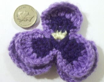 Crochet purple violet/flower brooch