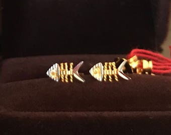 Solid 22k gold 916 gold fish bone earstuds earrings 2 tones 916 solid gold