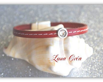 Red sewing simple leather bracelet - Zamak metal and swarovski crystal Pearl