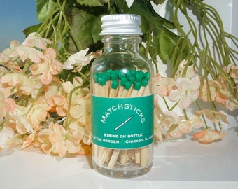 Emerald Green Matchstick Jar - colored matches - 60 count