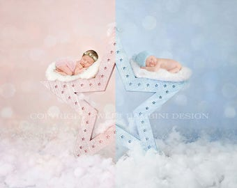 """Twins Digital Backdrop for newborn boy and girl - """"Wish upon a star"""" in pink and blue"""