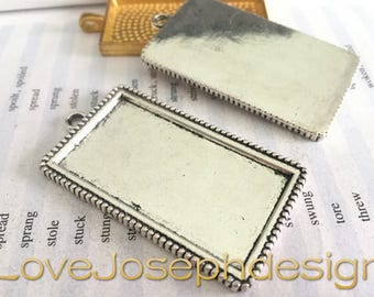 10 Pieces /Lot Antique Silver Plated 24mmx48mm rectangle cabochon trays charms