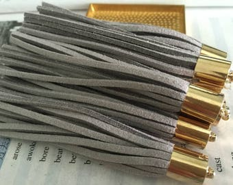 20pieces 90mm gray suede leather gold metal ear tassel charms