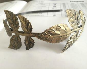 antique bronze 5mm filigree leaf hair headband