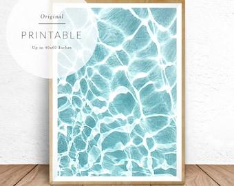 Water Print, Turquoise Water Print, Clear Water, Water Texture, Blue Water, Water Photography, Water Reflection, Water Art, Printable Art