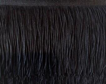 6'' Inch Long Fringe Black Chainette Fringe Price Per Yard