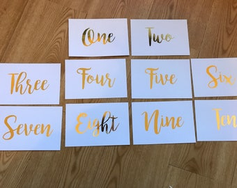 Foil table numbers (10 pack)