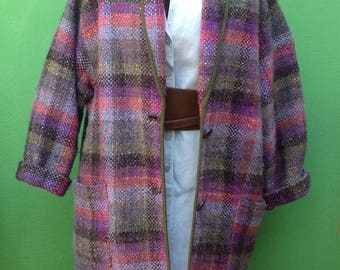 vintage 90s. Pure wool jacket. Wool Blazer. Handmade Vintage Jacket. Wooled coat.