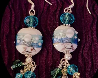 Playing in the lagoon earrings