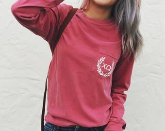 Chi Omega LONG SLEEVE - Comfort Colors Laurel Unisex Pocket T-shirt