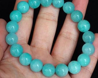 Amazonite Polished Bead Bracelet Natural Gemstone Jewelry Brazil  BASb179