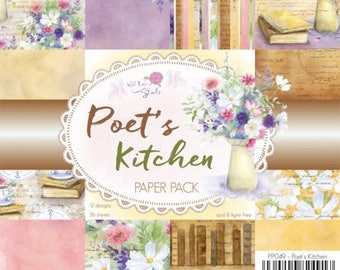 two pockets 15.2 36 papers x 15.2 cm Wild rose POET's KITCHEN