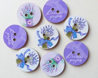 8 buttons wood scrapbooking VINTAGE PROVENCE Lavender.