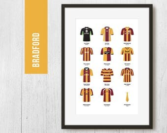 PERSONALISED Bradford Team Print, Football Poster, Football Gift, FREE UK Delivery