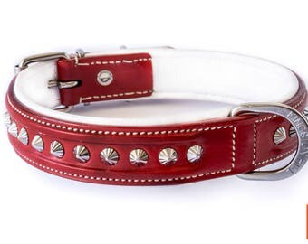 Victory Red Leather Dog Collar