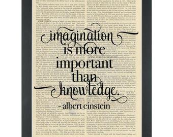 Literary quote Albert Einstein Imagination Dictionary Art Print