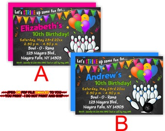 Bowling Birthday, Invitation, Bowling Party Invite, Bowling Party Boy, Bowling Party Girl, Birthday Boy, Birthday girl - BIRINV47a