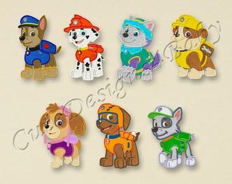 SALE! SET Paw Patrol full body applique embroidery design, Paw Patrol Machine Embroidery Designs, Embroidery designs baby, 7 designs #020