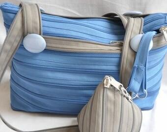 olie/grijs blauw rits zak en zijn deur-Mint