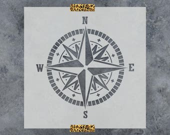 Compass Stencil - Laser Cut Mylar Stencil of Compass Rose Nautical Stencil Template - Small & Large Sizes Available Great for Wall Art