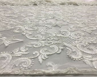 Lace Fabric/Ornament Sequines Heavy Bridal lace/Wedding Dress