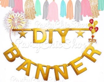 DIY Gold Letter Banner Kit | Word Banner Gold | Make Your Own Banner | 122 Pieces Letters & Symbols Party Hanging Decorations | Wordbanner