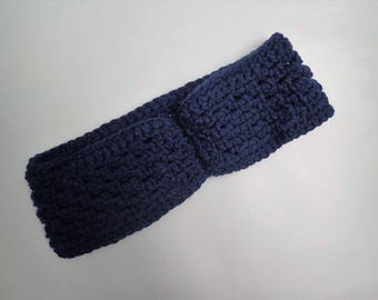Crocheted Nautical Blue Headband/Earwarmer