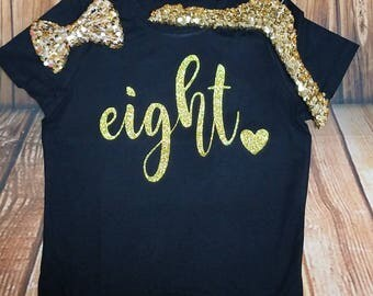 Eight Birthday Outfit Girl 8 Birthday Shirt It's My Birthday Shirt 8 Birthday Outfit 8 Black Gold Birthday Outfit Birthday Shirt