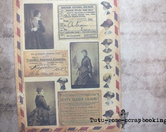 Large VINTAGE VICTORIAN reproduction 10 stickers sheets / boards 19.5 cm x 13.5 cm