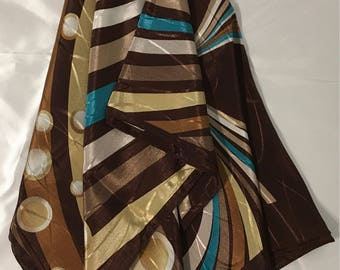 Gold brown and turquoise scarf , shawl Turkish shawl , Turkish scarfs ,scarves ,shalws ,scarfs ,brown , gold ,turquoise  .