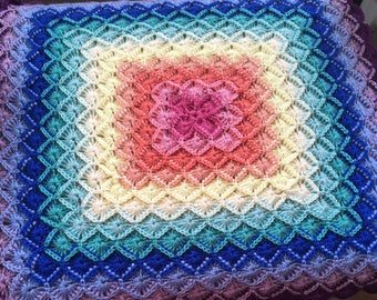"Bavarian Hand Crochetd Baby Blanket Rainbow colors 35""X35"" Square. stroller, play pen, car seat, nap time. Ready to Ship."