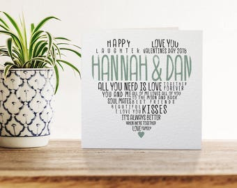 Personalised Heart Greetings Card, Valentine's Day Card, Typography, Love, Reasons for Love