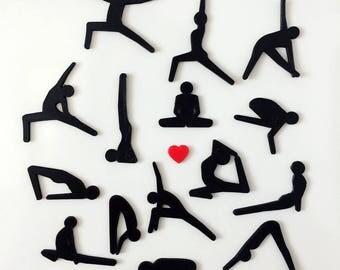 Set Of Yoga Asana Magnets