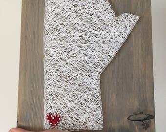 String Art Map, Manitoba Map, Prairie Art, Strint Art Country, Canada Theme Art, Gift for Traveller, Hometown Pride Gift, String Art State