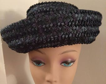 Vintage Navy Blue Basket Weave Straw Hat, Mid Century Hat, Fashion Accessories, Boutique